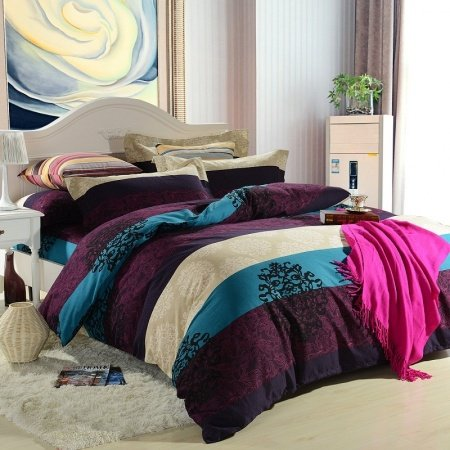 Purple Teal Blue And Beige Wide Stripe Print And Baroque