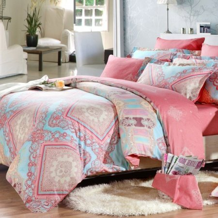 Light Blue Pink and Coral Red Indian Tribal Print Full, Queen Size Girls Bedroom Bedding Sets