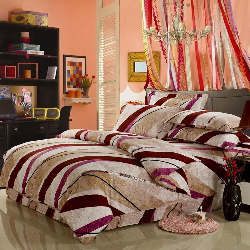 Hot Pink Beige and Light Brown Candy Diagonal Stripe Full, Queen Size Fashion Bedding Sets