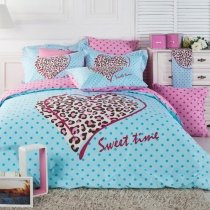 Light BLue Pink and Brown Leopard, Cheetah and Polka Dot Print Princess Themed Girls Full, Queen Size Bedding Sets