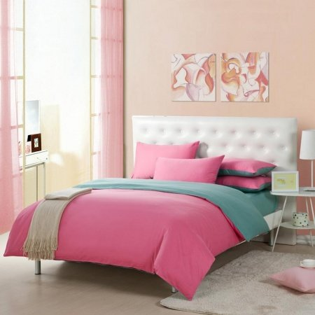 Pink and Dark Persian Green Solid Pure Colored Simply Chic Full, Queen Size Girls Bedroom Bedding Sets