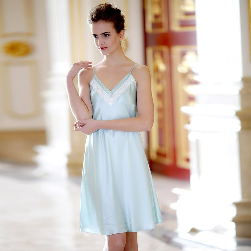 Solid Mint Green Lace Design Sexy V-neck Luxury Breathable Silk Satin Pajamas