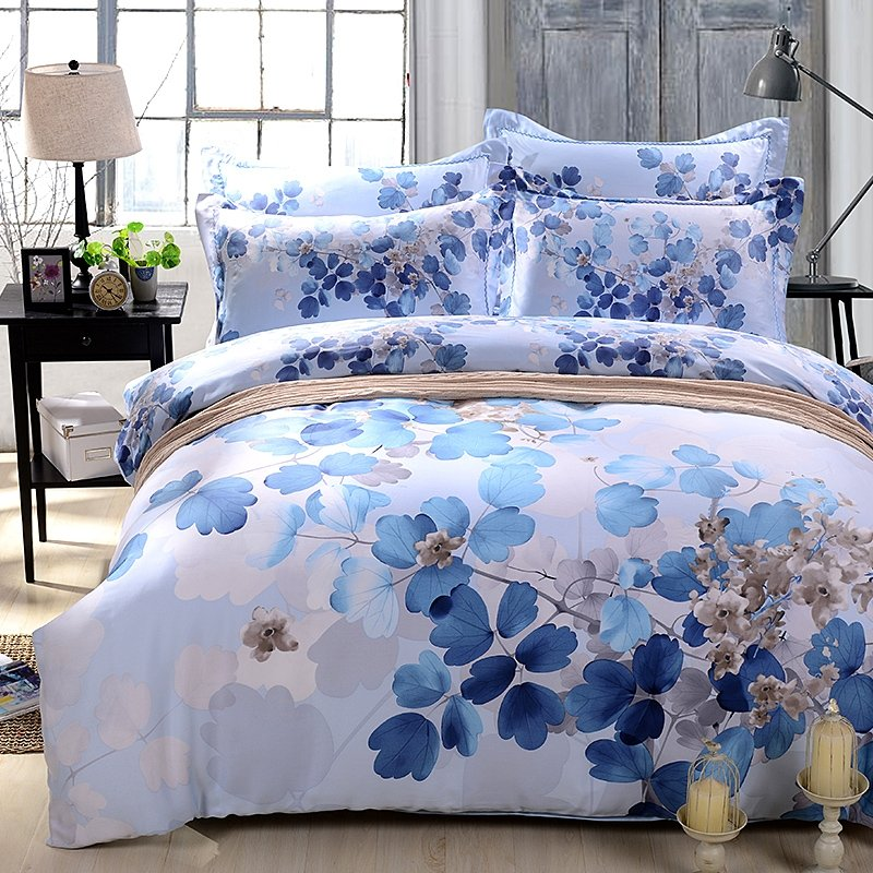 Blue and Light Grey Abstract Nature Tree Print Full, Queen Size Breathable 100% Soft Modal Tencel Bedding Sets