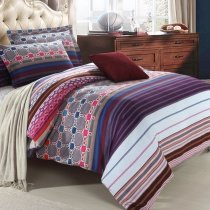 Modern Chic Abstract Design Geometric Pattern Stripe Print Blue White Purple and Red Bedding Sets