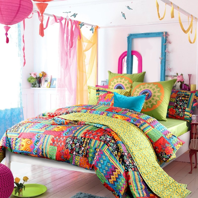 Peacock Blue Yellow and Red Neon Color Bohemian Chic Gypsy Style Tribal Print Colorful Patchwork 100% Cotton Full, Queen Size Bedding Sets