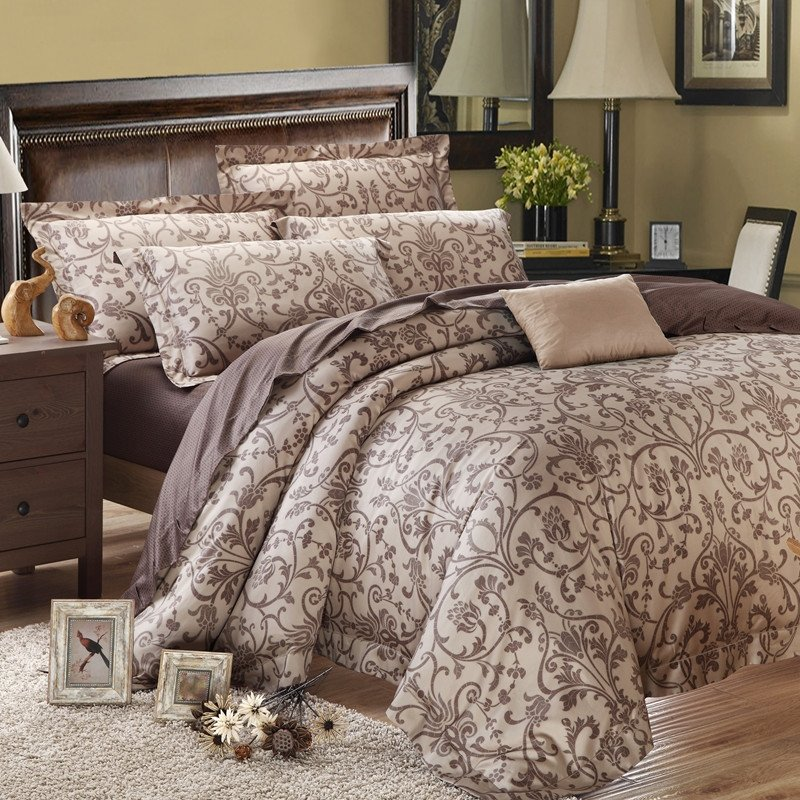 Brown Gorgeous Vintage and Shabby Chic Noble Tribal Print 100% Egyptian Cotton Full, Queen Size Bedding Sets