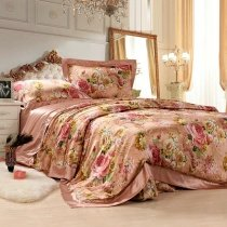 Red Gold and Pink Western Paisley Park Retro Colorful Floral Garden 100% Mulberry Silk Full, Queen Size Bedding Sets
