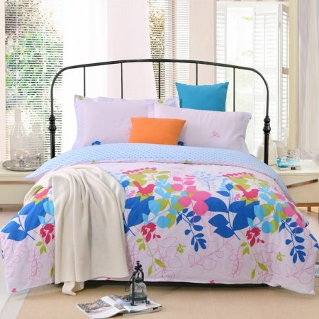 Pale Pink and Light Blue American Style Rustic Scene Tree Branch Print 100% Cotton Full, Queen Size Bedding Sets