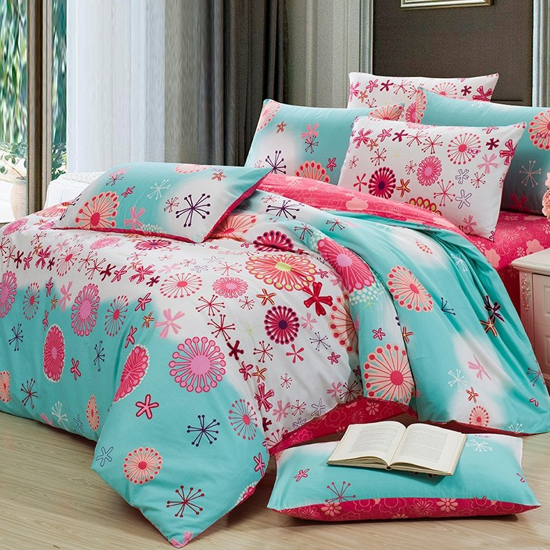 Aqua Blue and Coral Red Fashion Abstract Cute Flower Print Twin, Full Size 100% Cotton Bedding for Kid Girs