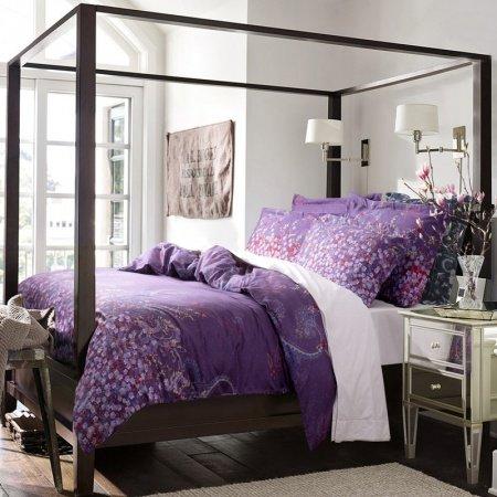 Purple Elegant Unique Paisley Tribal Print Floral Retro Style 100% Egyptian Cotton Full, Queen Bedding Sets
