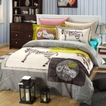 Grey White and Yellow Zebra Print Jungle Safari Themed Vintage Chic 100% Cotton Kids and Teen Boys Full Size Bedding Sets