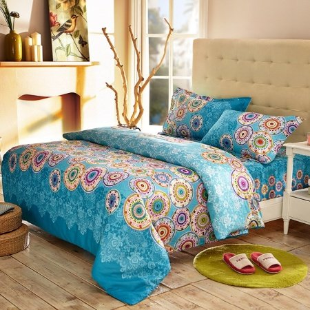 Royal Blue and Colorful Rainbow Stripe Print and Indian Pattern Personalized Full, Queen Size Bedding Sets