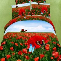 Sea Green Red and Sky Blue Opium Poppy Print Animal Butterfly Garden Images Full Size 3D Oil Painting Design Bedding Sets