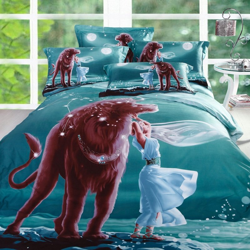 Teal Green and Brown Beauty and The Beast Aferican Lion Jungle Safari Exotic Personalized Girls and Boys Twin, Full Size Bedding Sets