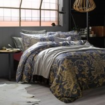 Oxford Blue and Gold Classic Baroque Style Bohemian( Boho ) Chic Luxury Floral Print Organic 100% Egyptian Cotton Full, Queen Size Bedding Sets