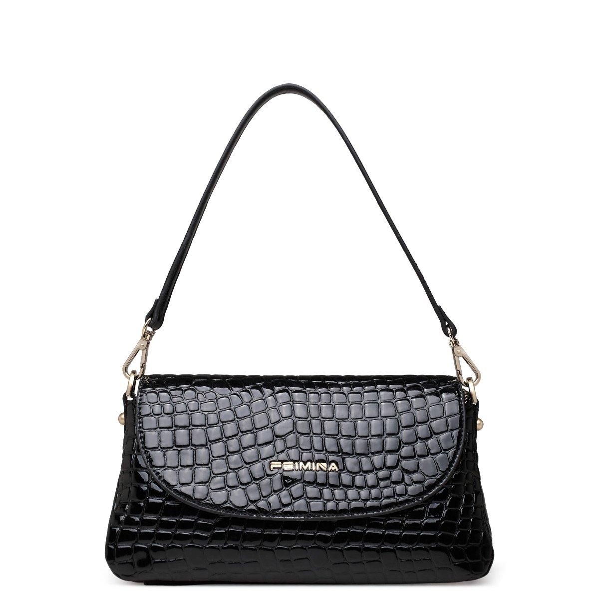 Solid Black Embossed Crocodile Cowhide Genuine Leather Envelope Flap Baguette Bag Casual Party Women Small Crossbody Shoulder Bag