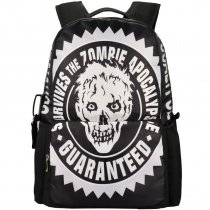 Black and White Monogrammed Unique Skull and Zombies Print Hip-Hop Rock and Roll Style Polyester Zipper Backpack, Satchel, School Bag for Girls, Boys