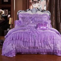 Girls Purple Victorian Rose Embroidery Sequin Pattern Ruffle and Lace Design Princess Themed Girls Full, Queen Size Bedding Sets