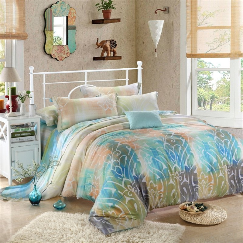 Pale Pink Blue and White Tribal Print Exotic Retro Style Noble Excellence Luxury Southwestern Style 100% Tencel Queen Size Bedding Sets