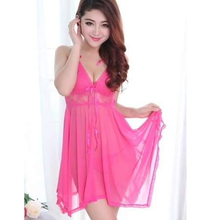 Hot Pink Heart Shaped Falbala Embroidered Lace Hollow Out V-neck Condole Belt Skirt Thong Sexy See-through Seductive Vogue Grenadine Pajamas