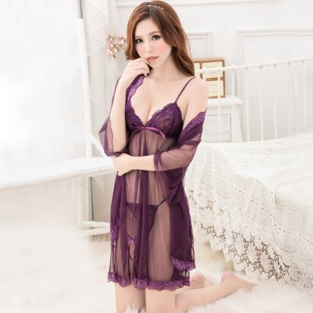 Solid Byzantium Purple Women 3 Piece See-through Seductive Sexy Lingerie Fashion Lace V-neck Condole Belt Night-Robe Briefs Summer Pajamas
