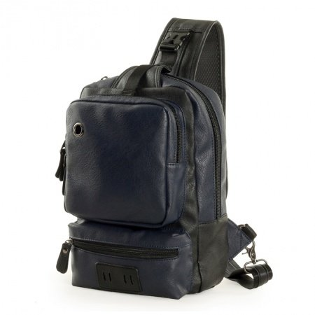 Dark Blue Faux Leather Chest Bag Contracted Retro Personalized Mitoshop Crossbody Travel Bag Zipper Applique Men Large Single Shoulder Bag