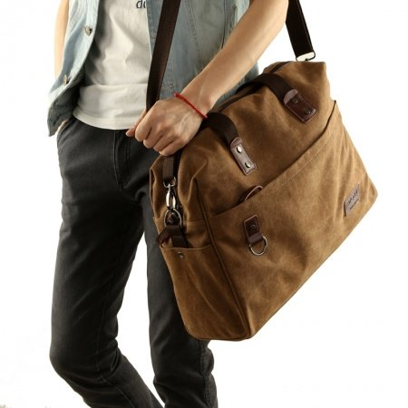 Copper Brown Canvas 14 Inch Laptop Bag Trendy American Style Casual Travel Purse Amazing Business Zipper Applique Men Large Crossbody Bag
