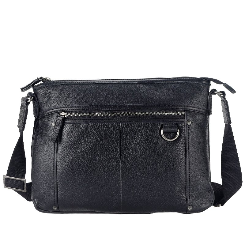 Solid Black Luxury Contracted Cowhide Genuine Leather Korean Style Single Shoulder Bag Casual Zipper Sequined Boys Men Medium Crossbody Bag