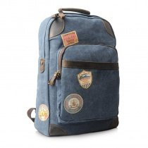 Blue-gray Canvas Preppy Style School Bag Vogue Boutique Sewing Pattern Satchel Backpack Color Blocking Zipper Casual Unisex Medium Travel Bag