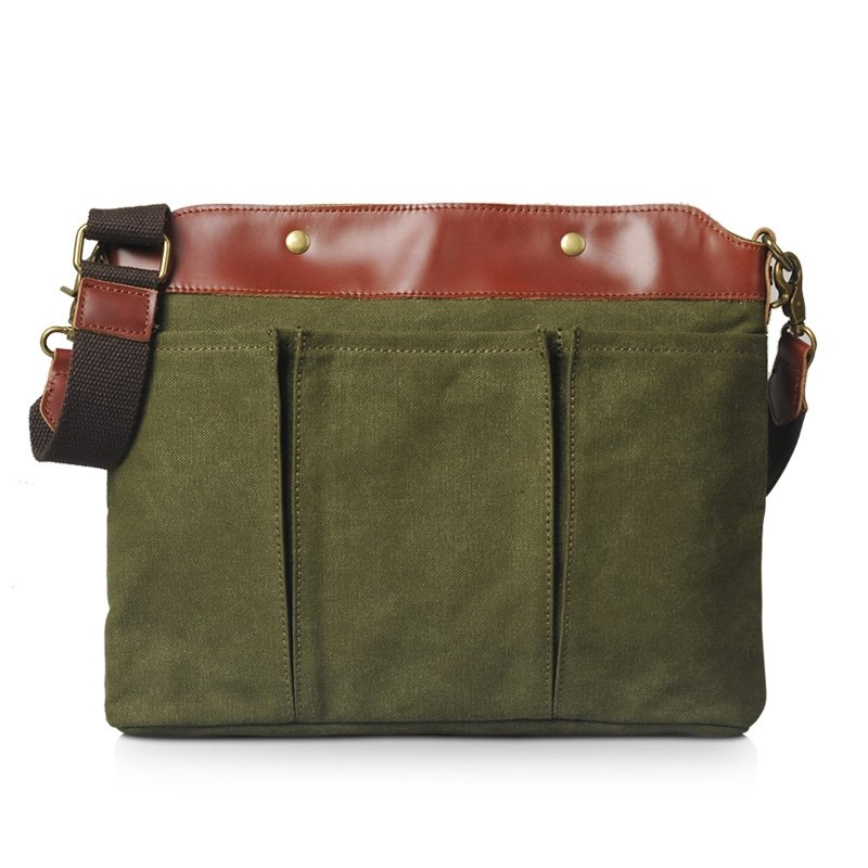 Olive Green Canvas Casual Travel Bag Vintage Chic Personalized Rock and Roll Style Crossbody Bag Magnet Buckle Small Men Single Shoulder Bag