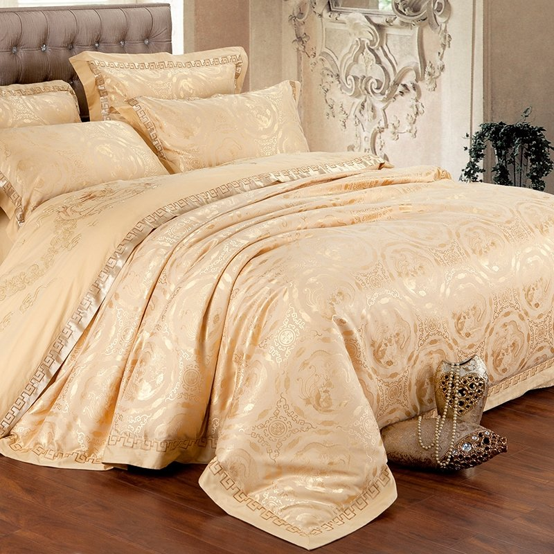 Royal Gold Sequin Auspicious Pattern Tribal Print Luxury Embroidered Craft Jacquard Design 100% Cotton Satin Full, Queen Size Bedding Sets