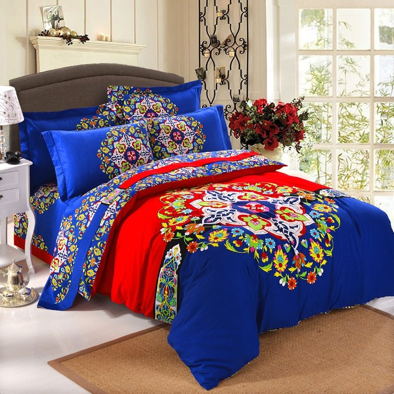 Royal Blue Red and Yellow Colorful Bohemian Style Folklore Pattern Indian Tribal Print Fantasy Brushed Cotton Full, Queen Size Bedding Sets