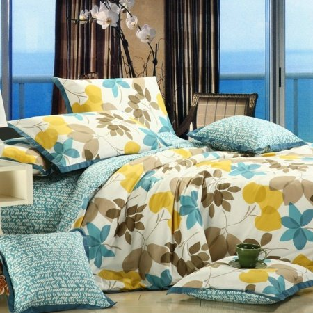 Yellow Brown Blue and White Leaf Print Country Chic Rustic Style Jungle Themed Fall Scene Nature 100% Cotton Full, Queen Size Bedding Sets