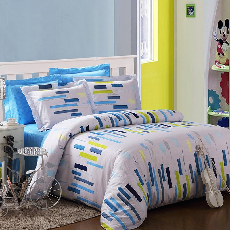 White Blue and Yellow Vertical Stripes Print Contemporary Hipster Style Abstract Design Cool 100% Cotton Damask Full, Queen Size Bedding Sets