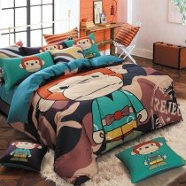 Teal Chocolate and Sunset Orange Cartoon Animal Monkey Print Jungle Safari Themed 100% Cotton Kids and Teen Twin, Full Size Bedding Sets