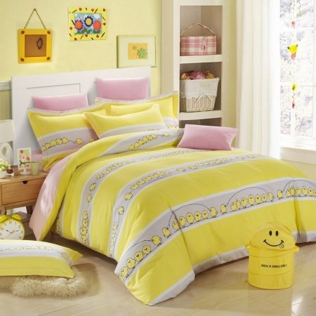 Yellow and Grey Chicken Print Stripe Cute Style Cartoon Durable 100% Brushed Cotton Kids Full, Queen Size Bedding Sets