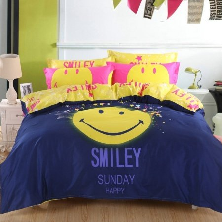 Deep Blue Yellow and Pink Smiley Face Print Trendy Vogue Hipster Style Unique Girls, Boys 100% Cotton Twin, Full, Queen Size Bedding Sets