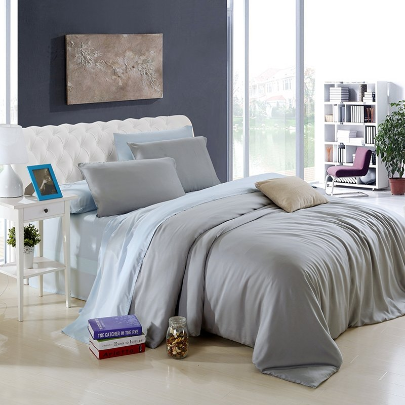 Grey and Alice Blue Pure Colored Vintage Simply Chic Expensive Reversible Percale Fabric Microfiber Tencel Full, Queen Size Bedding Sets