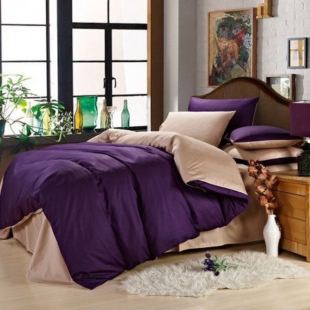 Deep Purple and Camel Pure Color Modern Chic Simply Chic Traditional Microfiber All Cotton Percale Fabric Girls Full, Queen Size Bedding Sets