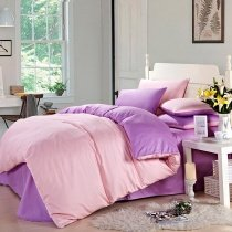 Pink and Orchid Pure Color Contemporary Simply Chic Traditional Elegant All Cotton Percale Fabric Lady Full, Queen Size Bedding Sets