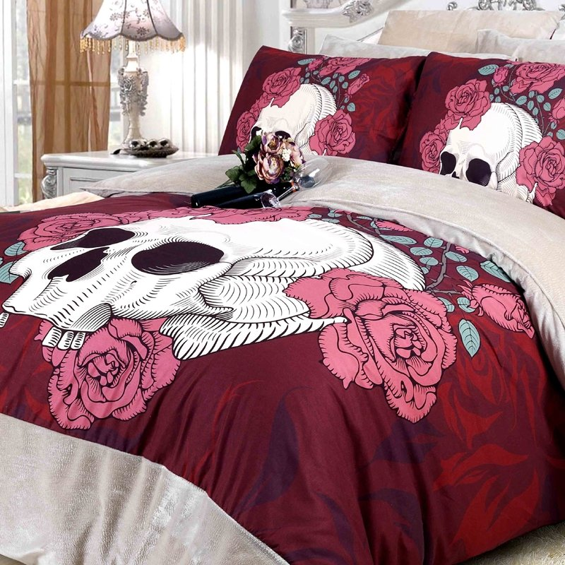 Maroon Rose Red and White Skull Print with Victorian Rose Sexy and Romantic Hipster Style Flannel Girls Full, Queen Size Bedding Sets