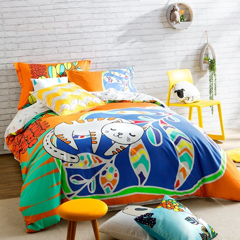 Blue Orange White and Green Sleeping Cat Print Cute Style Abstract Design Unique Luxury 100% Cotton Damask Kids Full Size Bedding Sets