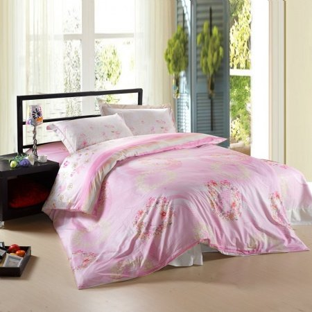 Pink and White Girls Princess Themed Cute Flower Print Full, Queen Size Toile Bedding Sets for Girls