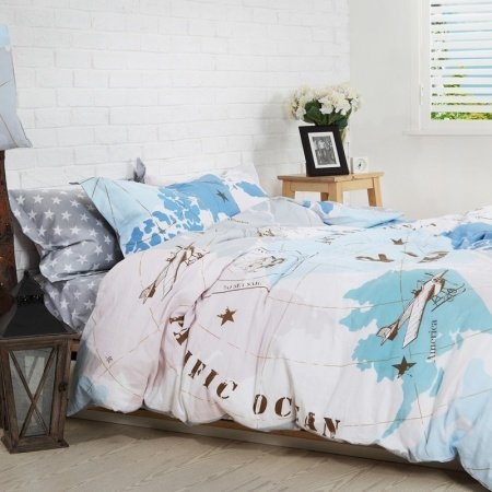 Boys Light Blue White and Coffee World Map Vintage Airplane Print Modern Chic Unique 100% Cotton Damask Full, Queen Size Bedding Sets