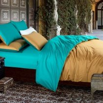 Luxury Gold and Teal Plain Colored Modern Chic Western Style 100% Egyptian Cotton Expensive Full, Queen Size Bedding Sets