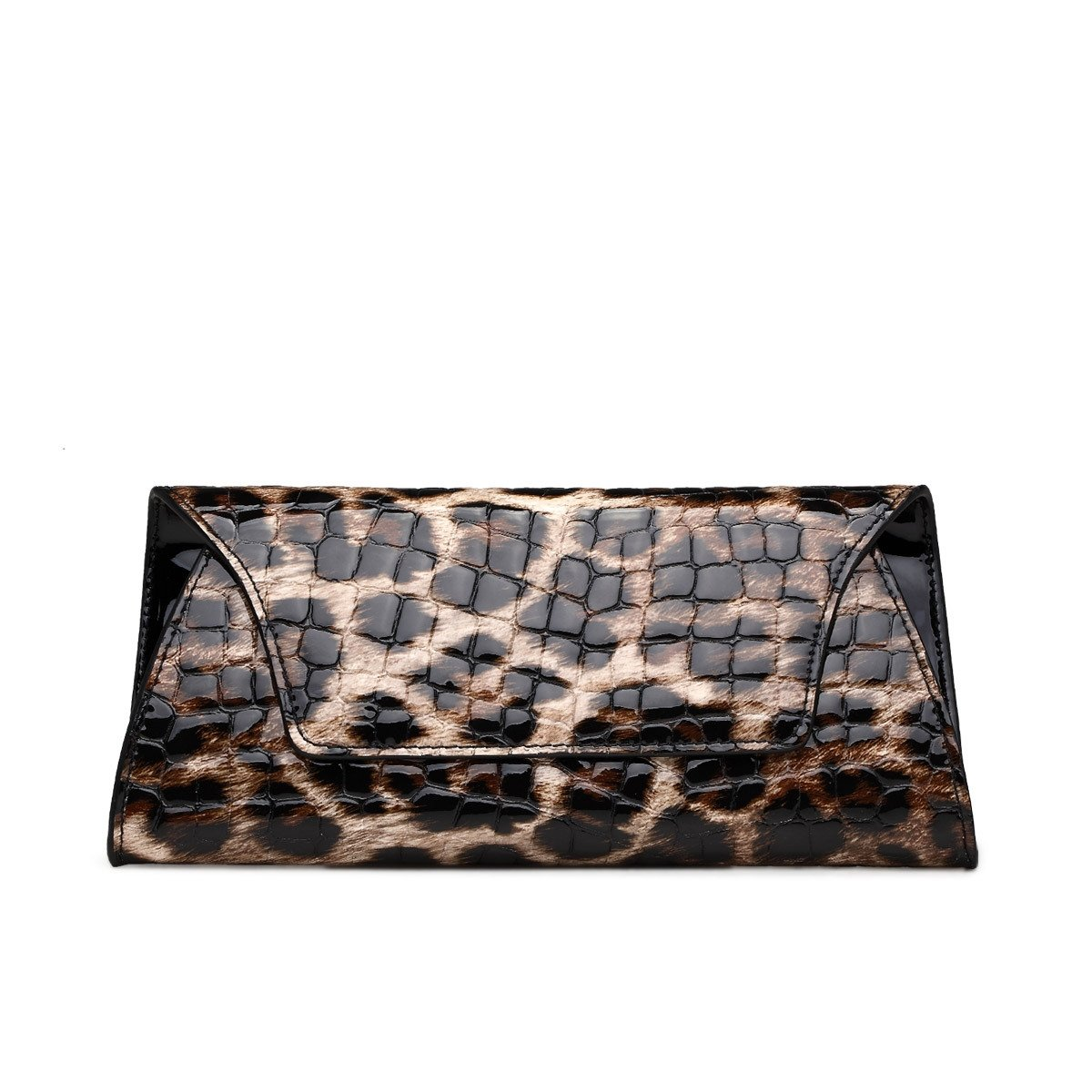 Camel Brown Black Cowhide Genuine Leather Envelope Flap Bag Expensive Boutique Embossed Alligator Women Small Party Evening Clutch