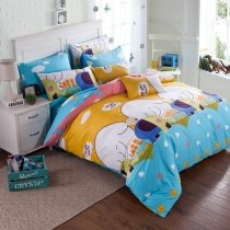 Yellow Blue Pink and White Cartoon Animal Elephant Print 100% Cotton Twin, Full Size Bedding Sets for Kids, Boys and Girls