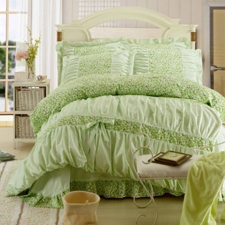 Girls Green Vintage Flower Print Ruffles Princess Style 100% Cotton Full, Queen Size Bedding Sets