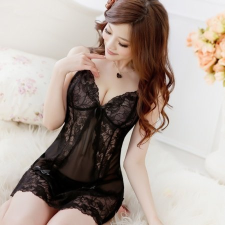 Black Sexy See-through Seductive Halter Top Lace Bud Silk V-neck Skirt Sleeveless G-string Girls Spaghetti Strap Pajamas