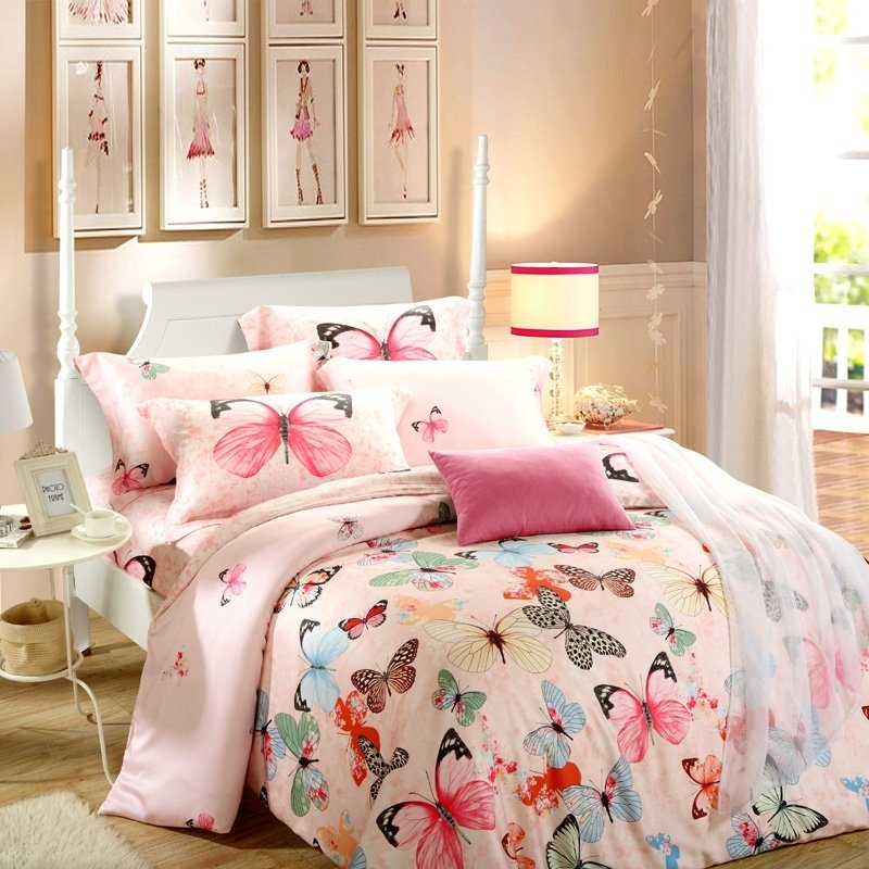 Girls Pink Red and Black Colorful Butterfly Print Modern Chic Pastel Style 100% Tencel Full, Queen Size Bedding Sets